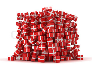 Pile of red gift boxes with presents