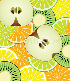 vector slices of citrus, kiwi and apple