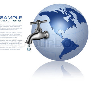 Earth globe with water tap and drop  Eco Concept  Vector