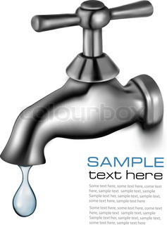 Water tap with drop  Vector illustration