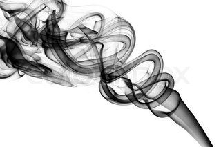 Abstract Black Smoke Swirls Over The White Background