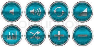 Blue Control panel buttons isolated