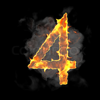 Burning and flame font 4 numeral