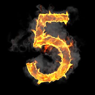 Burning and flame font 5 numeral