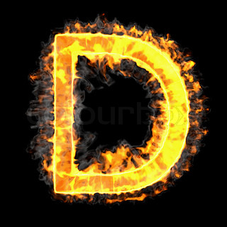 Burning and flame font D letter