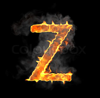 Burning and flame font Z letter