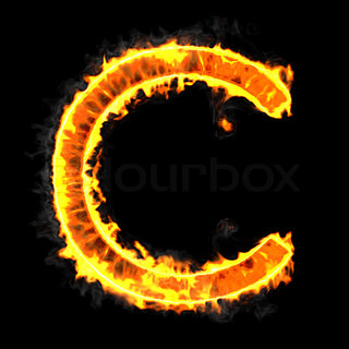 Burning and flame font C letter