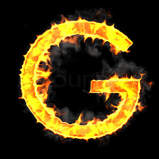 Burning and flame font G letter
