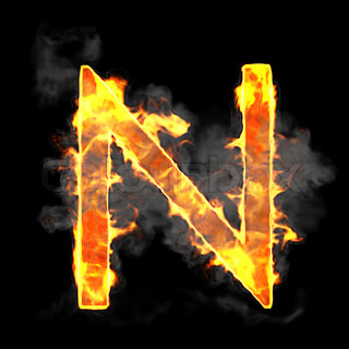 Burning and flame font N letter