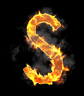Burning and flame font S letter