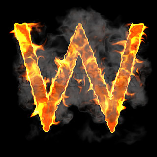 Burning and flame font W letter