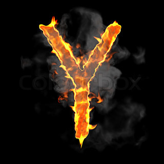 Burning and flame font Y letter