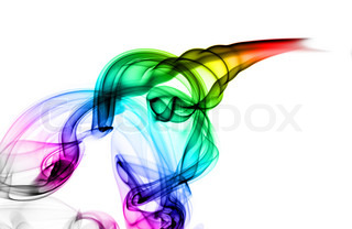 Abstract colorful smoke swirls on white