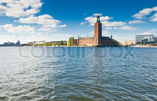 Stockholm city hall and blue sky