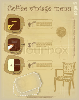 Template of menu for coffee drinks