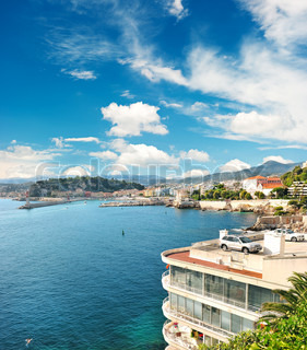 Panoramic view on Nice, France beautiful mediterranean landscape