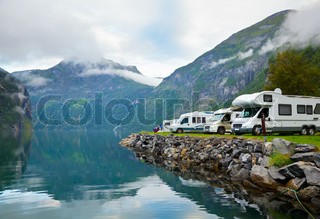 Camping by fjord