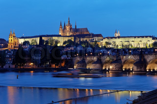 prague, charles bridge and prague castle hradcany at na
