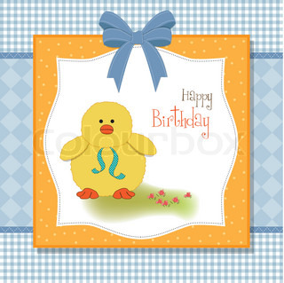 birthday card with little duck