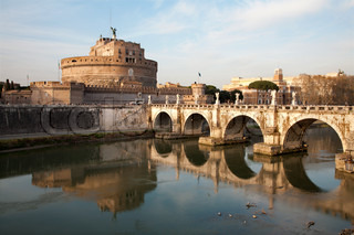 Rome - Angels bridge and castle in morning