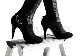 Party shoes on ladder