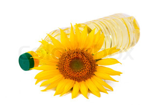 Vegetable oil in a bottle with flowers sunflower