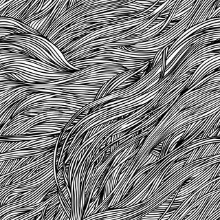 Vector seamless black and white abstract hand-drawn pattern with waves hair