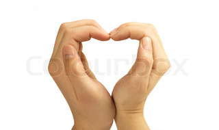 Love concepts - Hands forming a heart on white backgroundman and woman