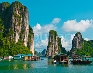 Floating fishing village in Halong Bay, Vietnam