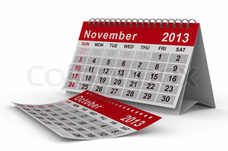 2013 year calendar November Isolated 3D image