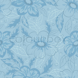 Seamless background with outline flowers and leaves dahlia Vector