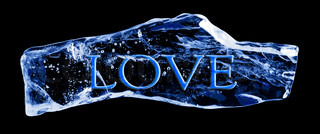 Word LOVE frozen in the ice