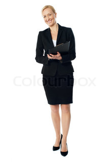 Full length view of an aged female executive