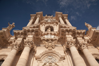 Baroque sandstoned cathedral of Noto, Sicily, Italy