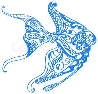 Abstract blue fish background, beautiful illustration