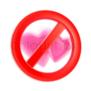Lesbian love forbidden, not allowed red glossy sign isolated on white