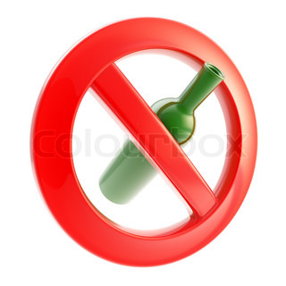 Drinking is not allowed forbidden bottle sign isolated on white