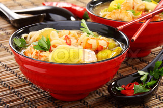 Chinese fish soup with shrimp