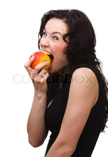 Young attractive woman is biting an apple