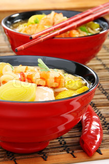 Fish soup with shrimp Chinese cuisine