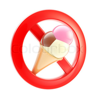 Food or ice cream forbidden not allowed sign icon isolated on white