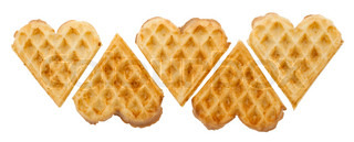 Heart shaped waffles on white