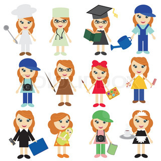 Nice young girls of different jobs | Stock Vector | Colourbox