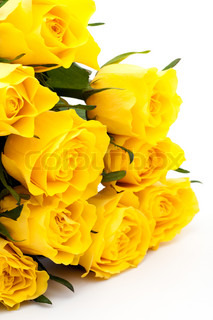 Yellow roses bouquet, isolated on white background