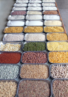 Indian pulses and cereals in an indian bazaar in bangalore, karnataka