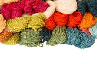 pile of woolen yarns