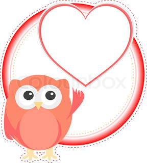 valentine owl girl with heart holiday vector card