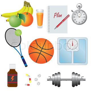 Objects for fitness, natural food, tools, vitamins on the white background.