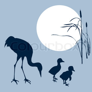 crane with nestling silhouette on solar background
