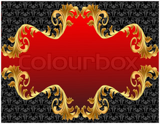 illustration background with red label with gold(en) ornament